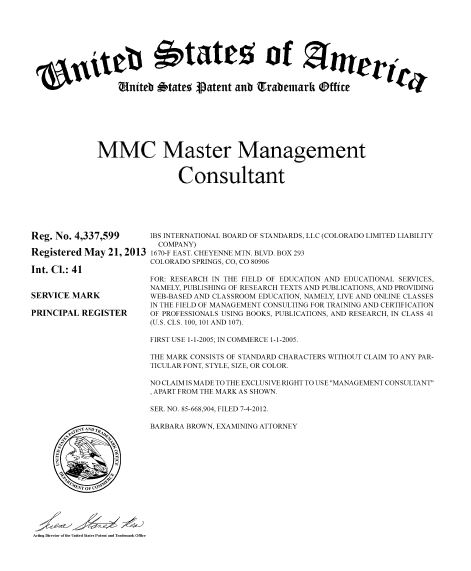 MMC Trademark Master Management Consultant Degree Certification Certified